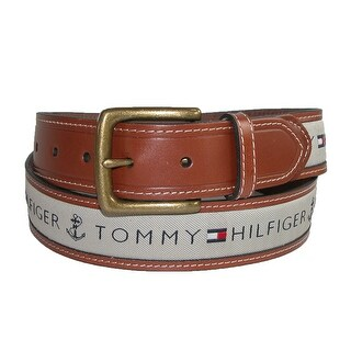 Tommy Hilfiger Men's Leather Casual Belt with Fabric Inlay (More options available)
