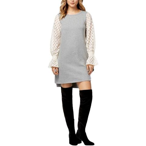Kensie Womens Lace Sleeve Shift Dress, Grey, Small