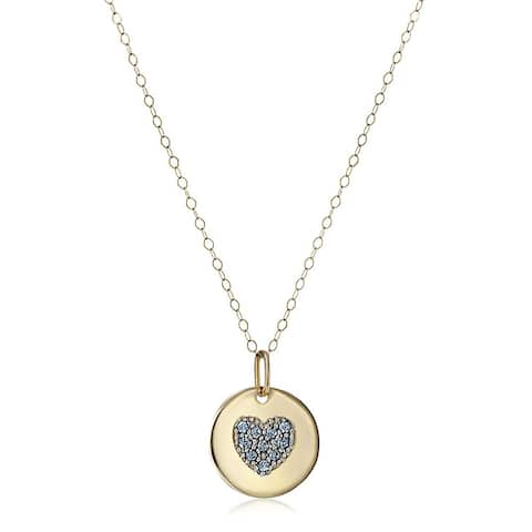 """Crystaluxe March Heart Disc Pendant with Blue Swarovski Crystals in 14K Gold, 18"""""""