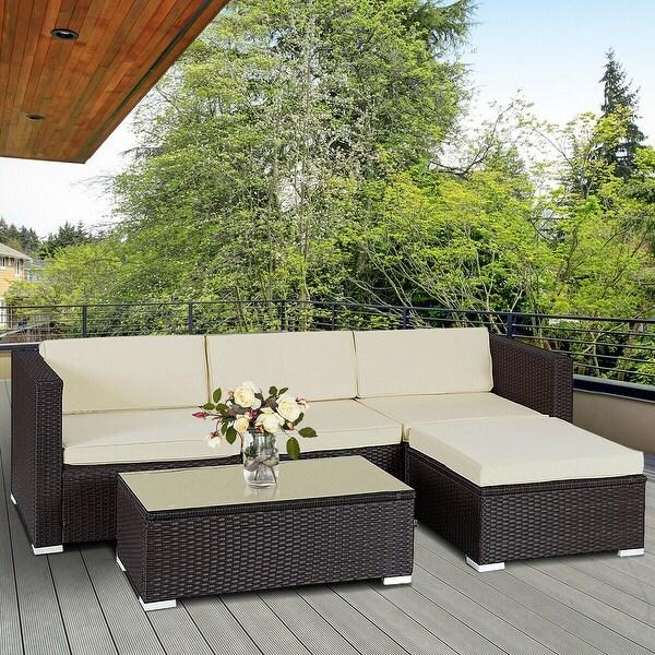 f48e779a0082 Costway 5 PCS Patio Furniture Set Rattan Wicker Table Shelf Garden Sofa W/  Cushion Brown