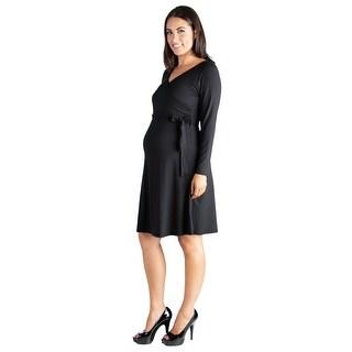 24seven Comfort Apparel V-Neck Long Sleeve Maternity Wrap Dress