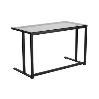 Offex Glass Desk with Black Pedestal Frame