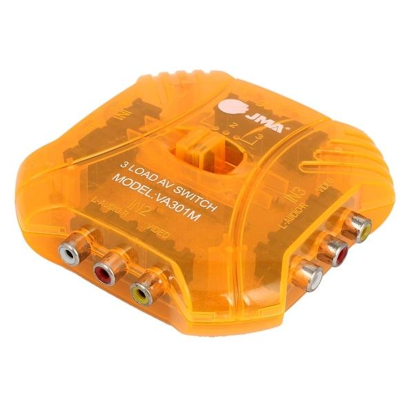 Orange Plastic Shell AV Audio Video RCA Switch Splitter Box 3 Port w Black Cable