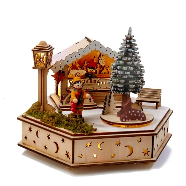 """8"""" LED Wooden Musical Toy House With Revolving Christmas Tree Table Piece Decoration - brown"""