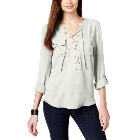 INC International Concepts Women's Grommet-Lace Blouse, Washed White (4)