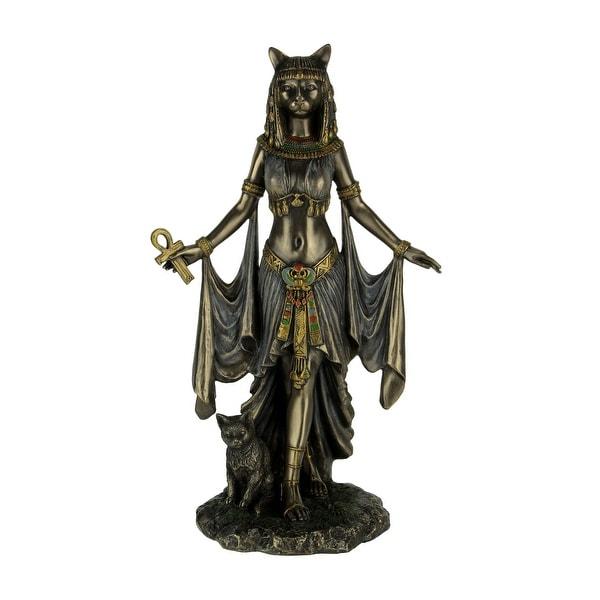 Bronze Finish Egyptian Goddess Bastet With Sacred Cat Statue - 10 X 6 X 3.5 inches