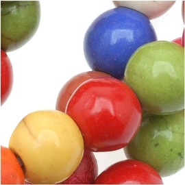 Dyed Stone Round Mixed Color Beads - 8mm Diameter (15.5 Inch Strand)