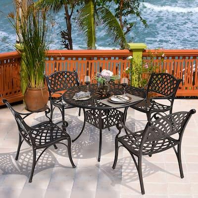 NUU GARDEN 5 Piece Outdoor Patio Solid Cast Aluminum Dining Conversation Set, Antique Bronze