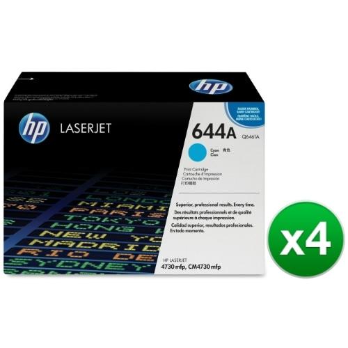 HP 644A Cyan Original LaserJet Toner Cartridge (Q6461A)(4-Pack)