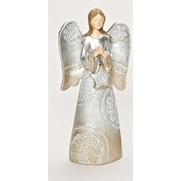 "7.5"" Distressed Carved Lace Angel praying Decorative Christmas Table Top Figure - silver"