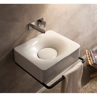 "Nameeks Scarabeo 6001-No Hole  Scarabeo 19-3/4"" Ceramic Wall Mounted / Vessel Bathroom Sink - White / No Hole"
