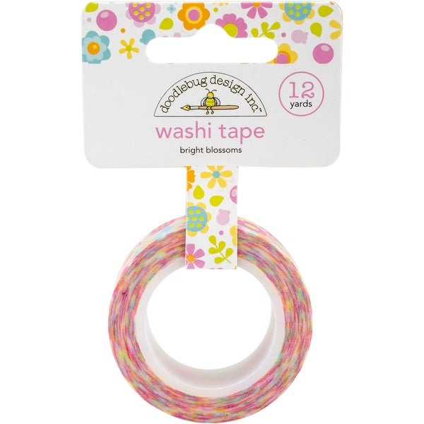 Doodlebug Washi Tape 15mm X 12yd-Bright Blossoms