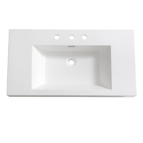 "Fresca FVS8090 Vista 35-3/8"" Acrylic Drop In Vanity Top with an Integrated Sink with Three Faucet Holes at 8"" Centers and"