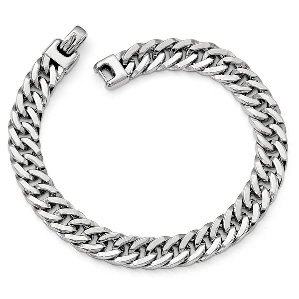 Italian 14k White Gold Polished Men's Bracelet - 8 inches
