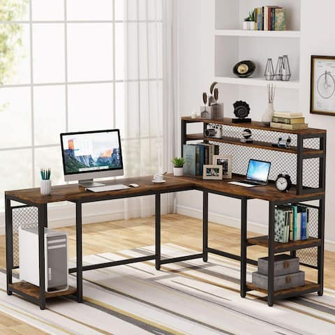 Tribesigns 67 inch L-Shaped Computer Desk with Hutch and Storage Shelf