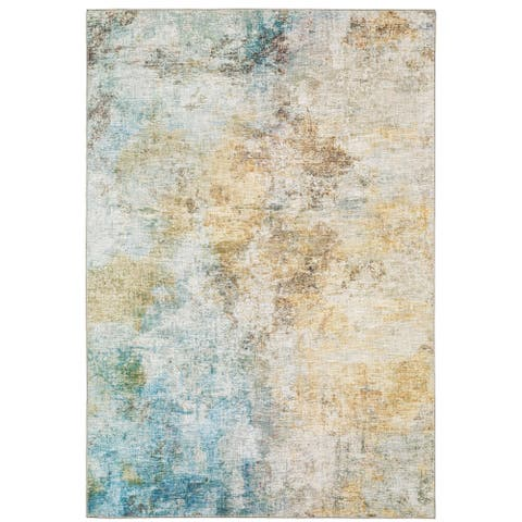 Montreux Contemporary Abstract Yellow/Gold Area Rug