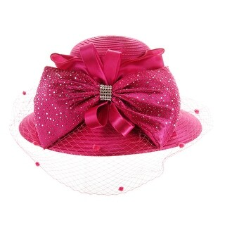 ChicHeadwear Satin Braid w/ Large Bow and Netting - Fuchsia