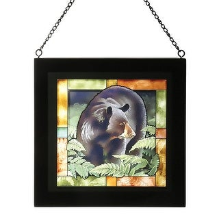 Wild Wings Wild Animals Bear or Deer Colored Glass Sun Catcher -Hanging Wall Art - 9 in. x 9 in. x .75 in.