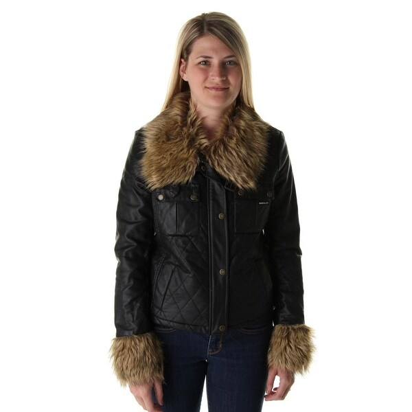 Members Only Womens Jacket Quilted Faux Fur Trim - l