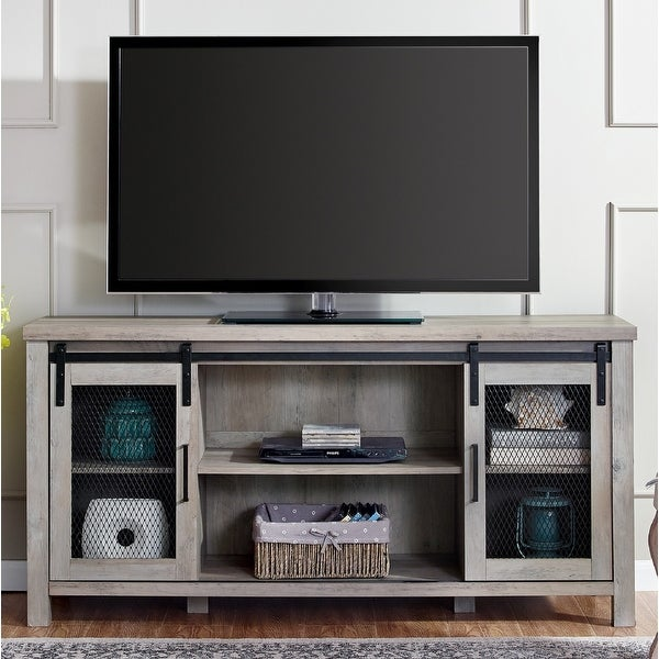 58-inch Sliding Mesh Door TV Stand Console. Opens flyout.