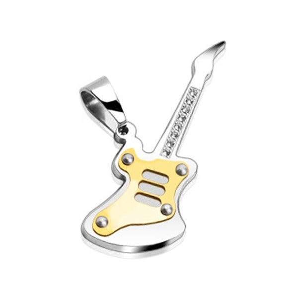 Stainless Steel Guitar Pendant (Gold Plated Plate) with 8 CZs (16 mm Width)