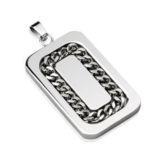 Chain Link Inlay Stainless Steel Pendant (25 mm Width)