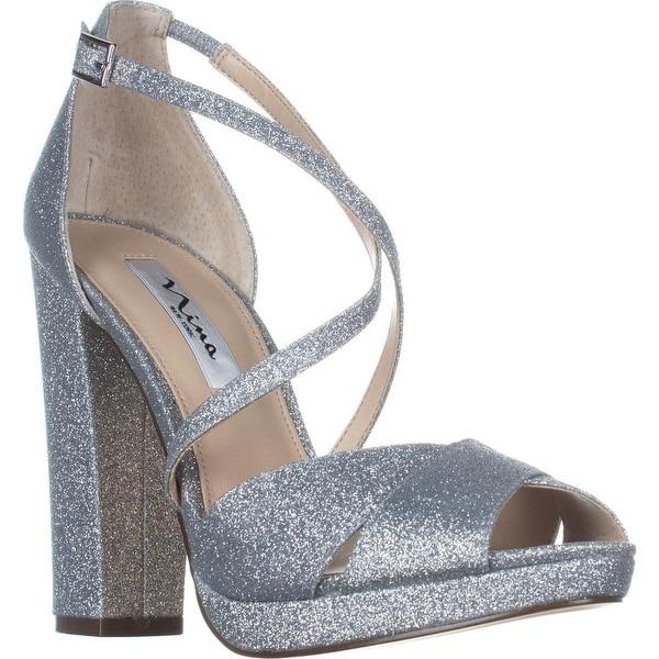Nina Marylyn Peep Toe Dress Sandals, Silver - 8.5 us / 38.5 eu