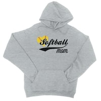 Softball Mom Unisex Grey Hoodie Cute Mother's Day Gift Sports Mom