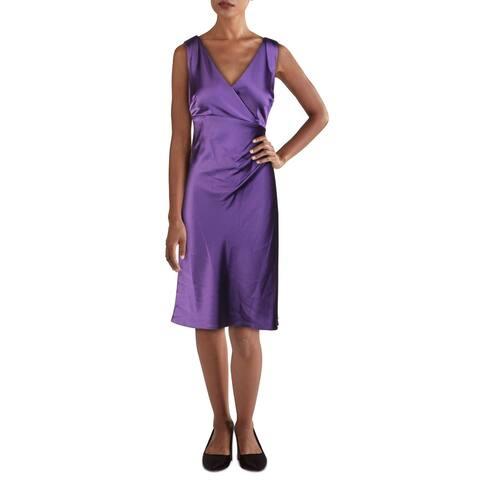Lauren Ralph Lauren Womens Concettah Cocktail Dress Satin Sleeveless - Regal Plum