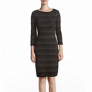 Calvin Klein Black Womens Large L Metallic Striped Sweater Dress