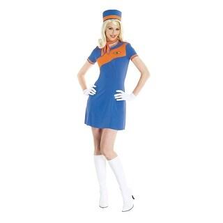 Retro Stewardress Blue and Orange Halloween Costume