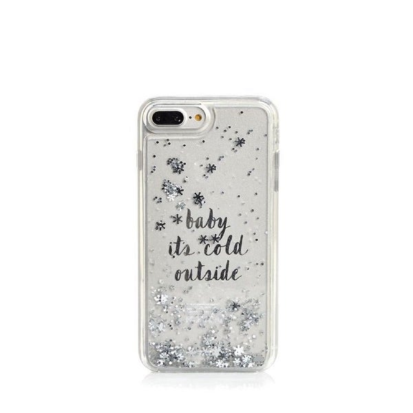 new concept f7922 7c8ea Kate Spade New York Baby It's Cold Outside Clear Liquid Glitter Case for  iPhone 8 Plus/iPhone 7 Plus