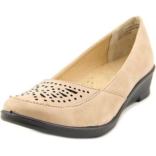 Easy Street Greer Women WW Open Toe Synthetic Tan Wedge Heel
