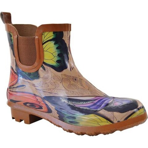 Anuschka Women's Ankle Rain Boot Earth Song Printed Rubber