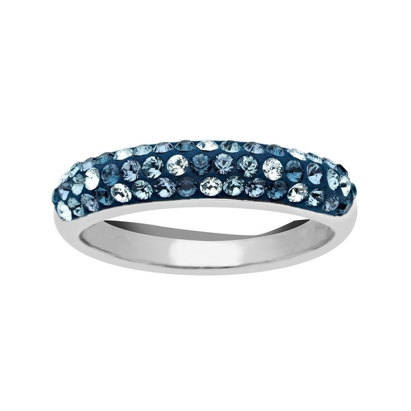 Crystaluxe Ring with Light Azure, Denim Blue, Indian Blue, and Montana Swarovski Elements Crystals in Sterlin