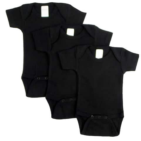 "Pack of 3 Black Medium Interlock Short Sleeve Bodysuit Onesies for 18 to 24 Months, 6"""