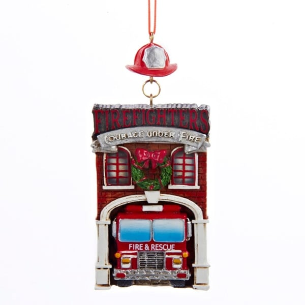 "4.25"" Fire House with Fire Truck ""Firefighters Courage Under Fire"" Christmas Ornament"