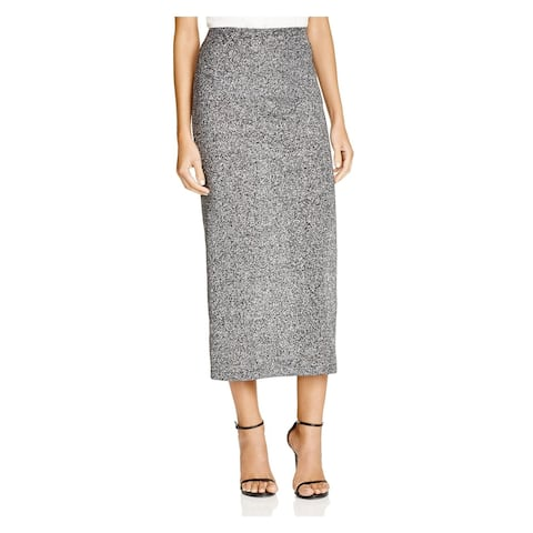 FRENCH CONNECTION Womens Silver Glitter Maxi Pencil Skirt Size 2