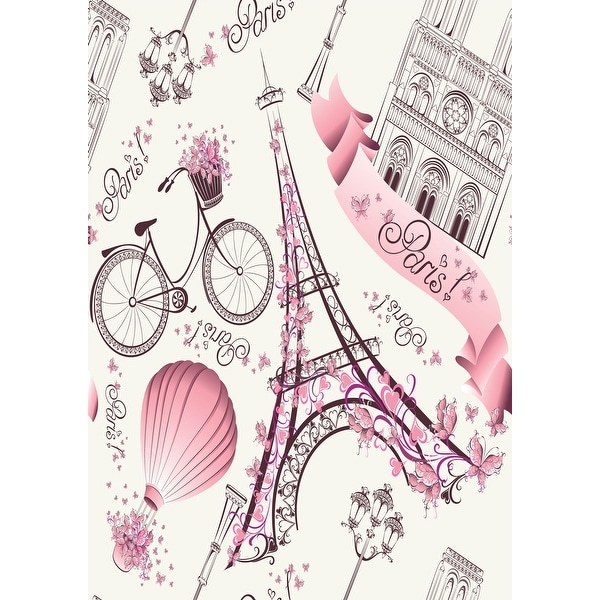 Romantic Travel in Paris Removable Wallpaper - 24'' inch x 10'ft. Opens flyout.