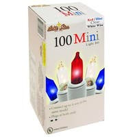 Set of 100 Patriotic Red, White and Blue Mini Incandescent Christmas Lights - White Wire - multi