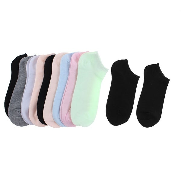Unique Bargains Woman Cotton Blend Elastic Low Cut Sports Casual Ankle Socks Multicolor 10 Pairs