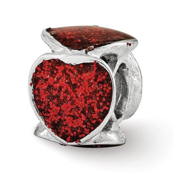 Italian Sterling Silver Reflections Red Glitter Enameled Heart Bead (4mm Diameter Hole)