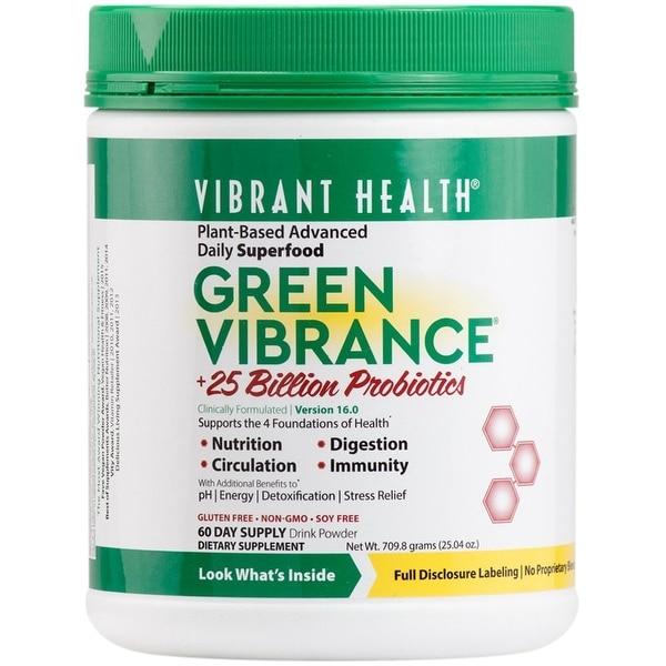 Vibrant Health Green Vibrance Powder 709.8g - 60 Servings - Super Food - Digestion - Cardiovascular Function - Multi