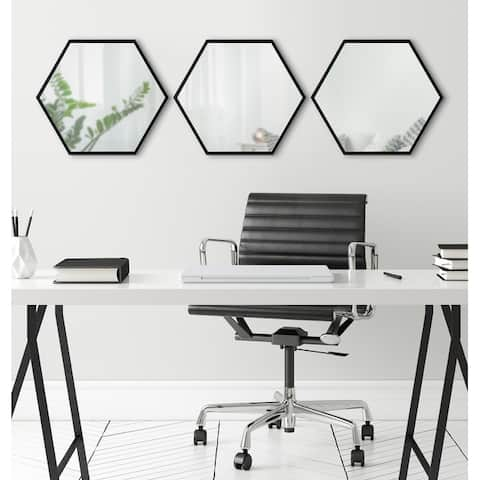 Kate and Laurel Rhodes Framed Hexagon Wall Mirror Set