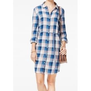 Tommy Hilfiger NEW Blue Women's Size Large L Plaid Print Shirt Dress