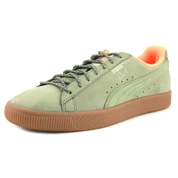 Puma Clyde Winter Men Round Toe Suede Green Sneakers