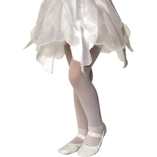 RU7451 Morris Costumes White Sparkle Tights Child,12-14