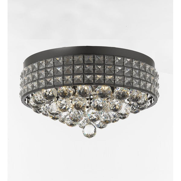 Flush Mount French Empire Crystal Chandelier with 40MM Crystal Balls Crystal Iron Metal Shade