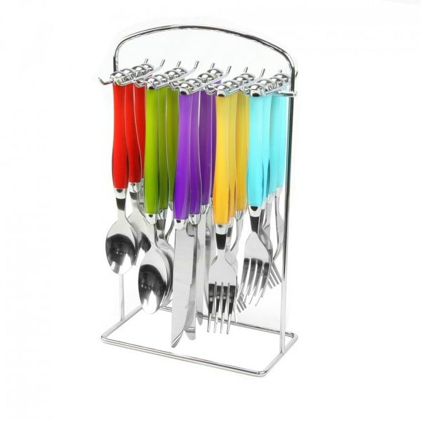Gibson 20-Piece Stainless Steel Flatware Set with Hanging Rack. Opens flyout.
