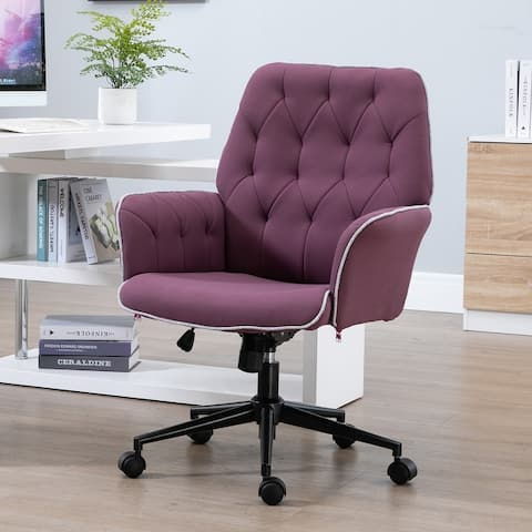 Modern Mid-Back Tufted Linen Fabric Home Office Task Chair with Arms, Swivel Adjustable
